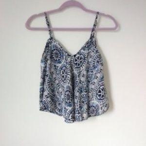 Fashion Fuse Blue, White, and Black Print Tank Top